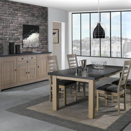 Salle-a-manger-table-chaises-buffet-chene-massif-bois-bi-ton-gris-WHITNEY-qualite-ateliers-de-langres-Meubles-Gibaud-nord