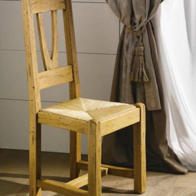 Chaise rustique en chêne massif, assise paille – NOGENT