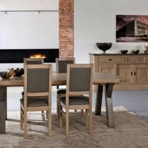 Salle à manger style maison de campagne en chêne massif – table pieds tréteaux – ROMANCE