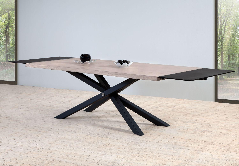table-zen-pied-metal-plateau-bois-chene-meubles-gibaud