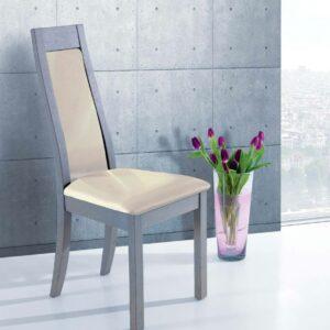 Chaise en chêne massif gris assise et dossier tissu ivoire – Ateliers de Langres – CERAM