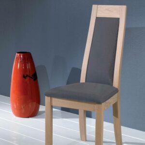 Chaise en chêne massif assise et dossier tissu gris – Ateliers de Langres – CERAM