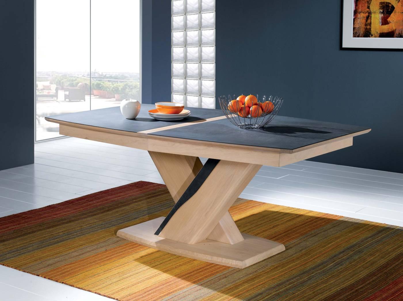 Salle a manger table design ceramique ateliers langres meubles gibaud - Table de salle a manger pied central ...