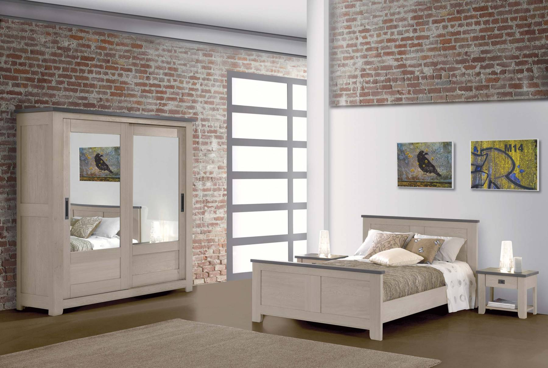Chambre coucher moderne whitney chene massif for Meubles chambre a coucher contemporaine