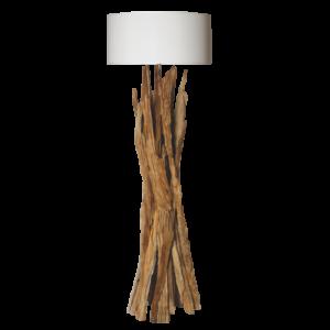 Lampadaire en bois naturel avec abat-jour blanc modele TAIGA