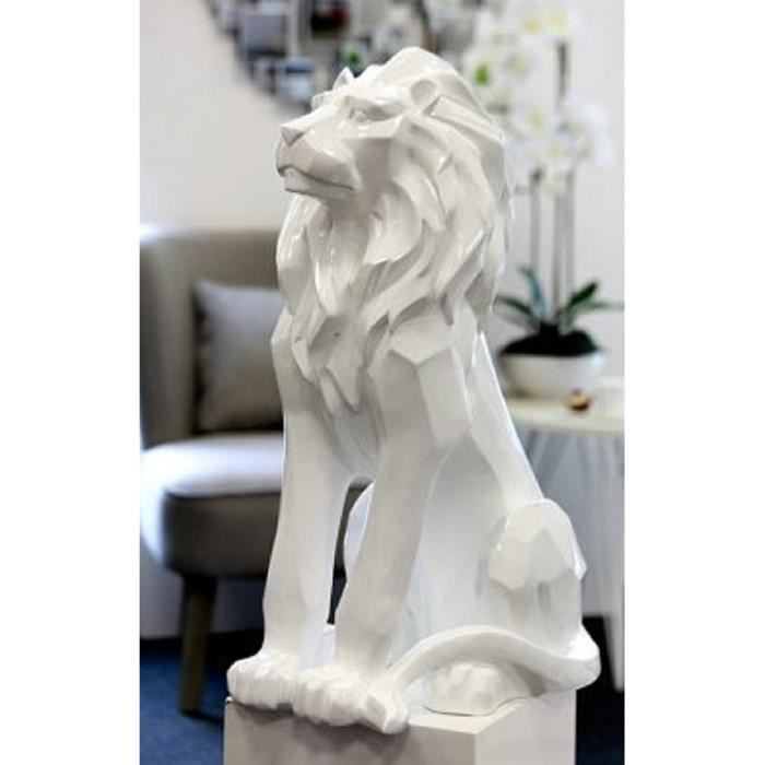 grande statue lion design blanc decoration interieur nord. Black Bedroom Furniture Sets. Home Design Ideas