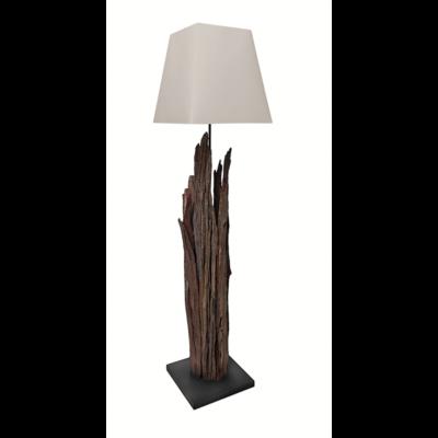 Lampadaire naturel en bois flotte avec abat-jour blanc -modele MAORI