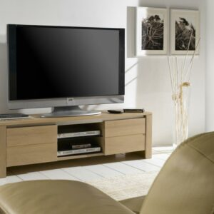 meuble-tv-bois-chene-clair-2-portes-niches-francais-ateliers-de-langres-magasin-meubles-gibaud-cambresis-nord