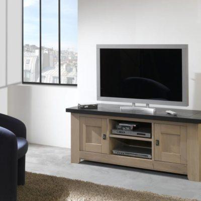 Meuble TV 2 portes 100% chêne massif Ateliers de Langres – WHITNEY