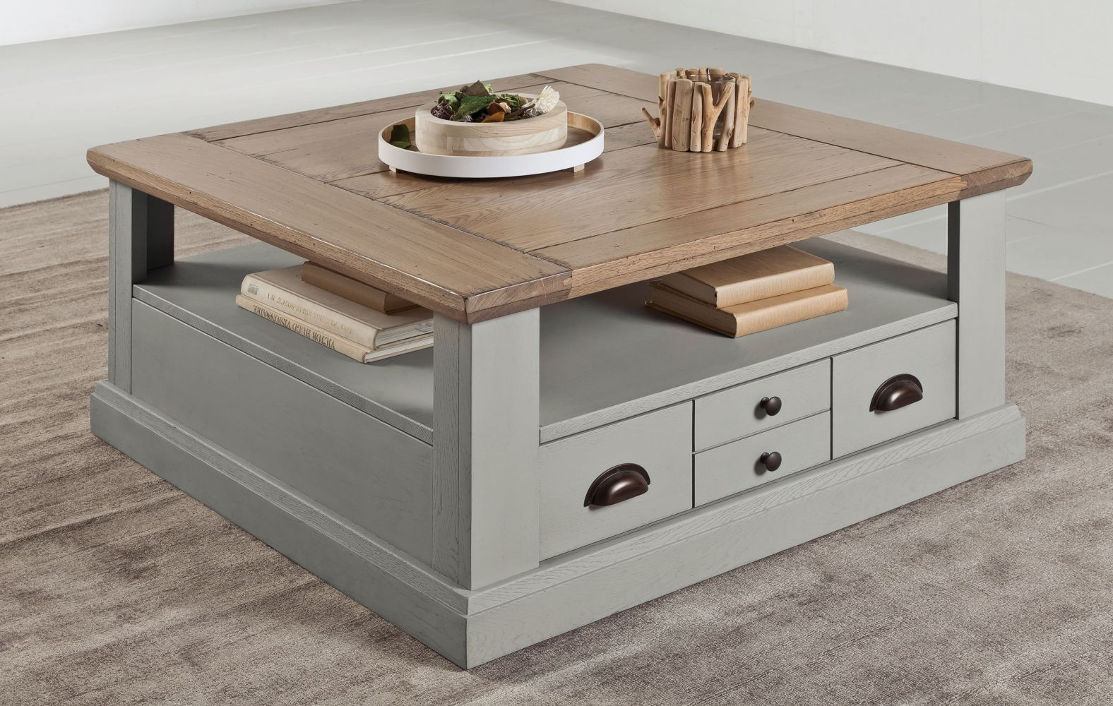 Comment Patiner Une Table table basse romance style campagne chic chene patine grise