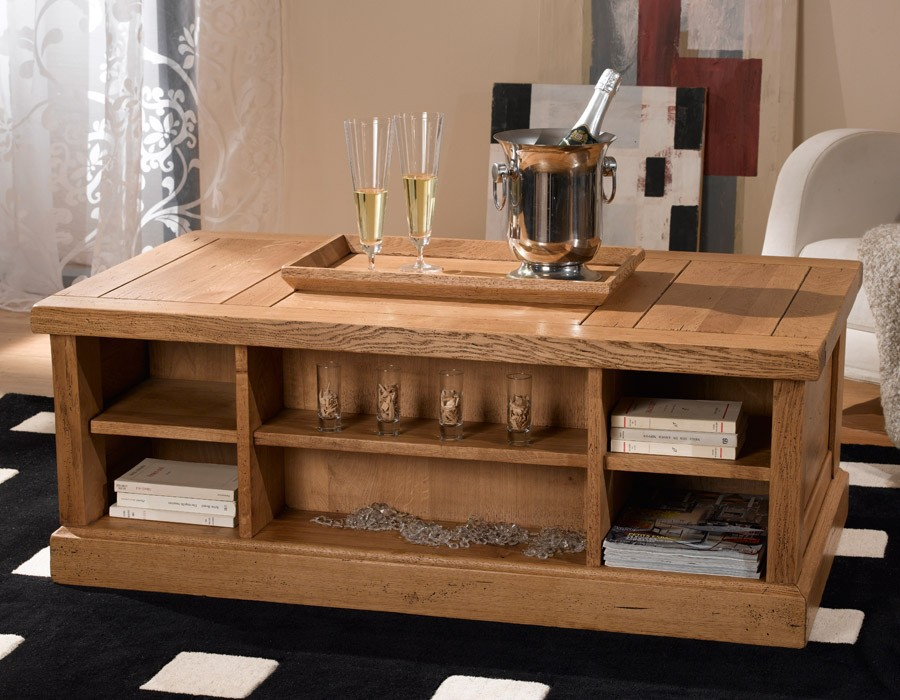 Table basse coffre rustique nogent meubles gibaud for Table salon coffre