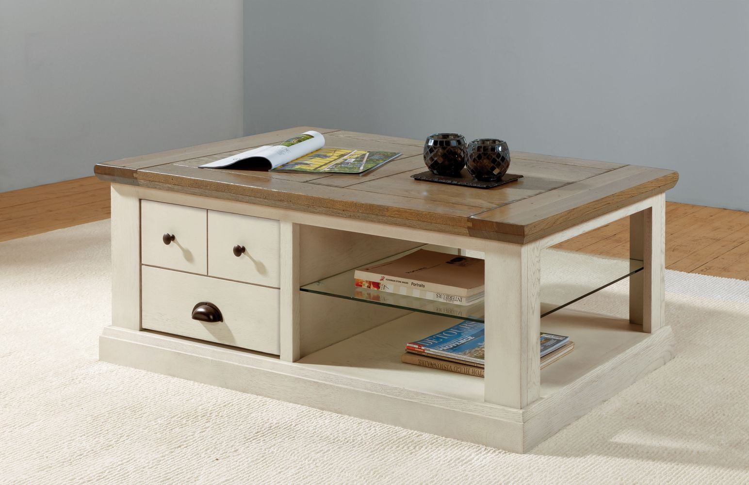 table basse rectangulaire chene romance style campagne. Black Bedroom Furniture Sets. Home Design Ideas