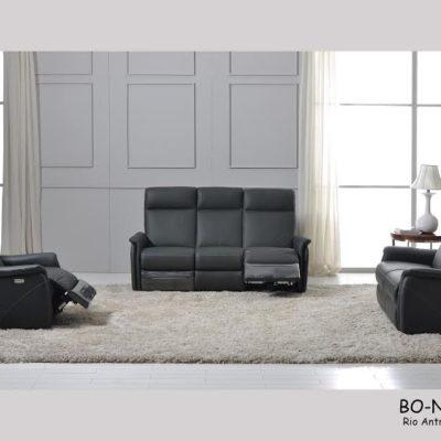 Canapé fixe et relax 1 à 3 places cuir noir – BAZIL NOIR