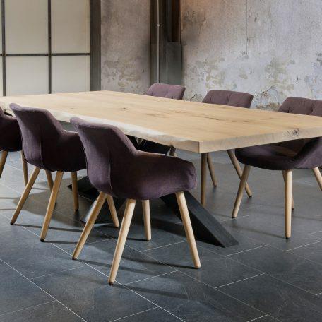Salle-a-manger-table-Trunk-plateau-bois-chêne-massif-pied-metal-style-industriel-meubles-gibaud