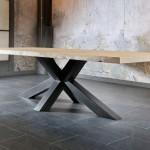 table-plateau-bois-chene-massif-pied-metal-meubles-gibaud-le Cateau-Nord-lille-Cambrai-Douai-Valenciennes-table-trunk-pmp-industriel