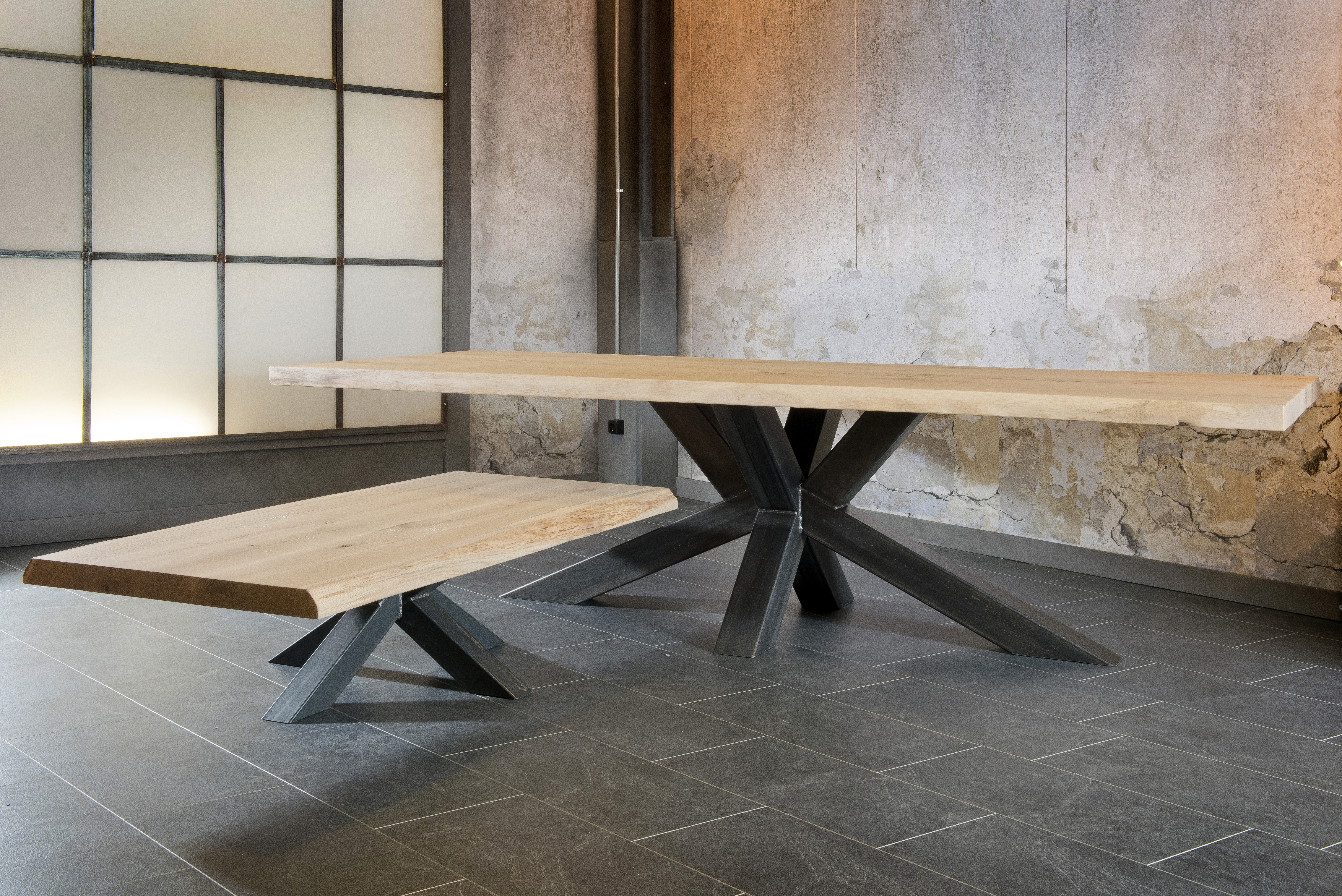 Préféré salle a manger industriel pied metal plateau bois chêne massif @SR_32