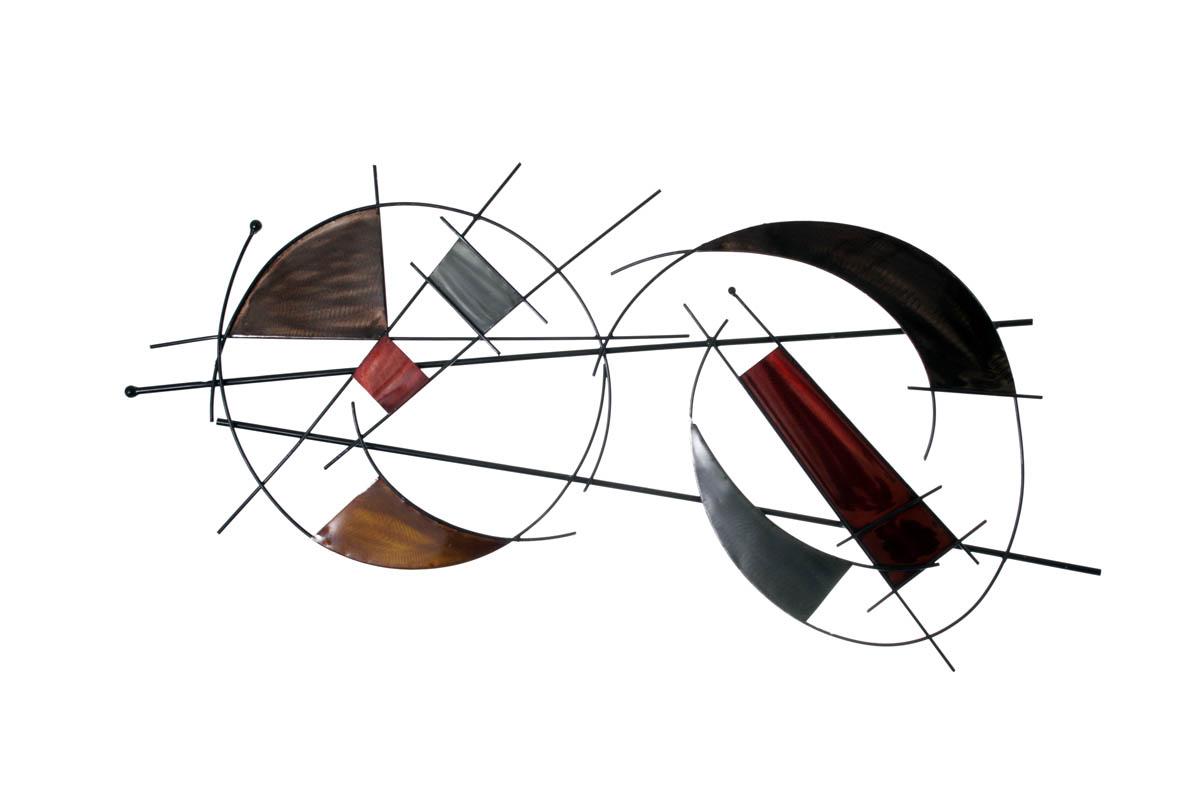sculpture murale socadis pi ces de m tal multico sur double cercle meubles gibaud. Black Bedroom Furniture Sets. Home Design Ideas