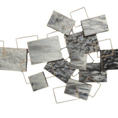 deco murale metal formes effet gris or