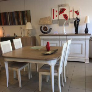 salle-a-manger-chene-patine-blanc-vieilli-rustique-campagne-chic-meubles-gibaud-nord-Cambrai-Douai-Valenciennes