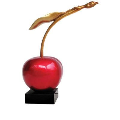 sculpture-statue-cerise-rouge-or-deco-design-resine-boisetdeco-cambresis