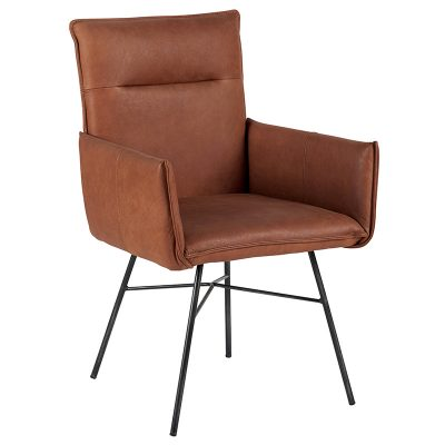 chaise-cuir-camel-pieds-métal-casita-meubles-gibaud