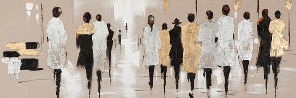 Tableau-femmes-150×50-peinture-acrylique-marron-dore-et-argent
