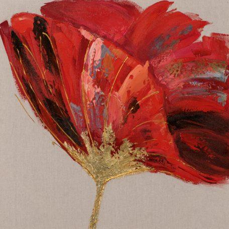 tableau-peinture-coquelicot-rouge-or-fleur-deco-bois&deco-magasin-nord-meubles-gibaud-cateau-cambresis