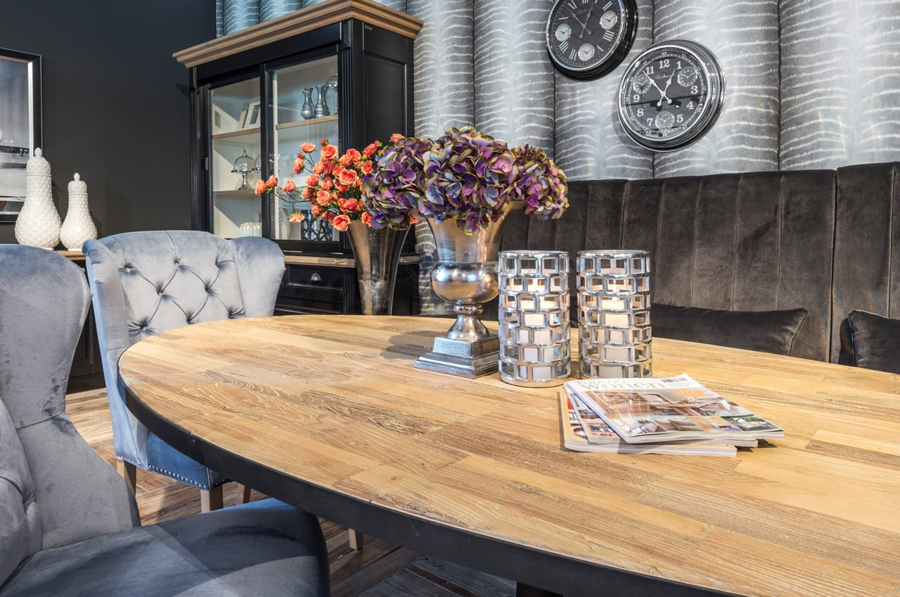 Salle A Manger Industrielle Bois Metal Table Ovale Meubles Gibaud Nord