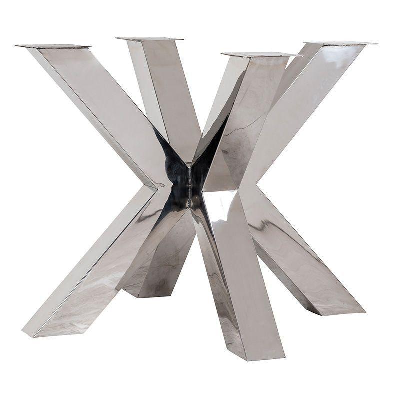 Table design bois epais pied central metal chrome industriel - Table salle a manger acier ...