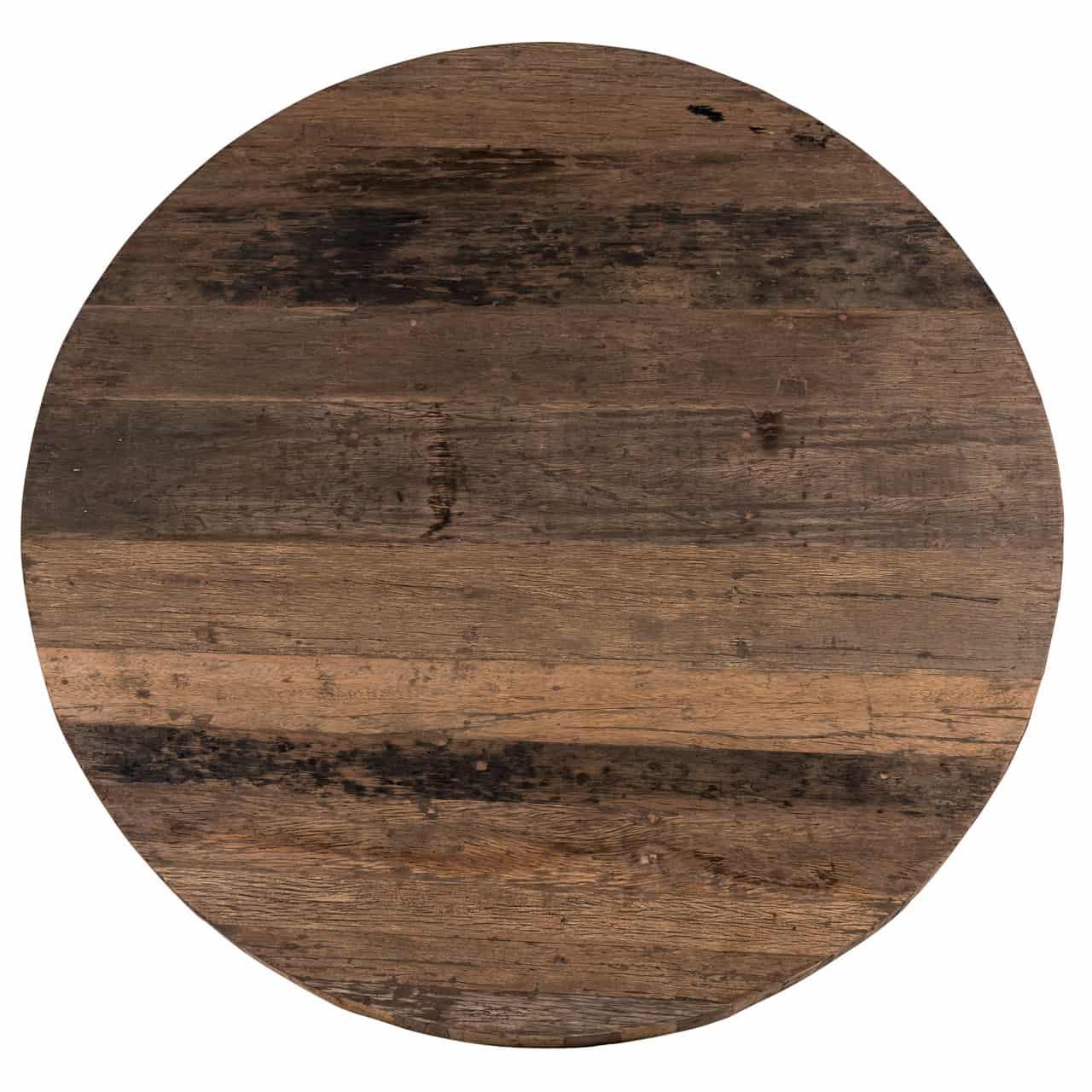 table design ronde plateau epais bois pied metal noir. Black Bedroom Furniture Sets. Home Design Ideas
