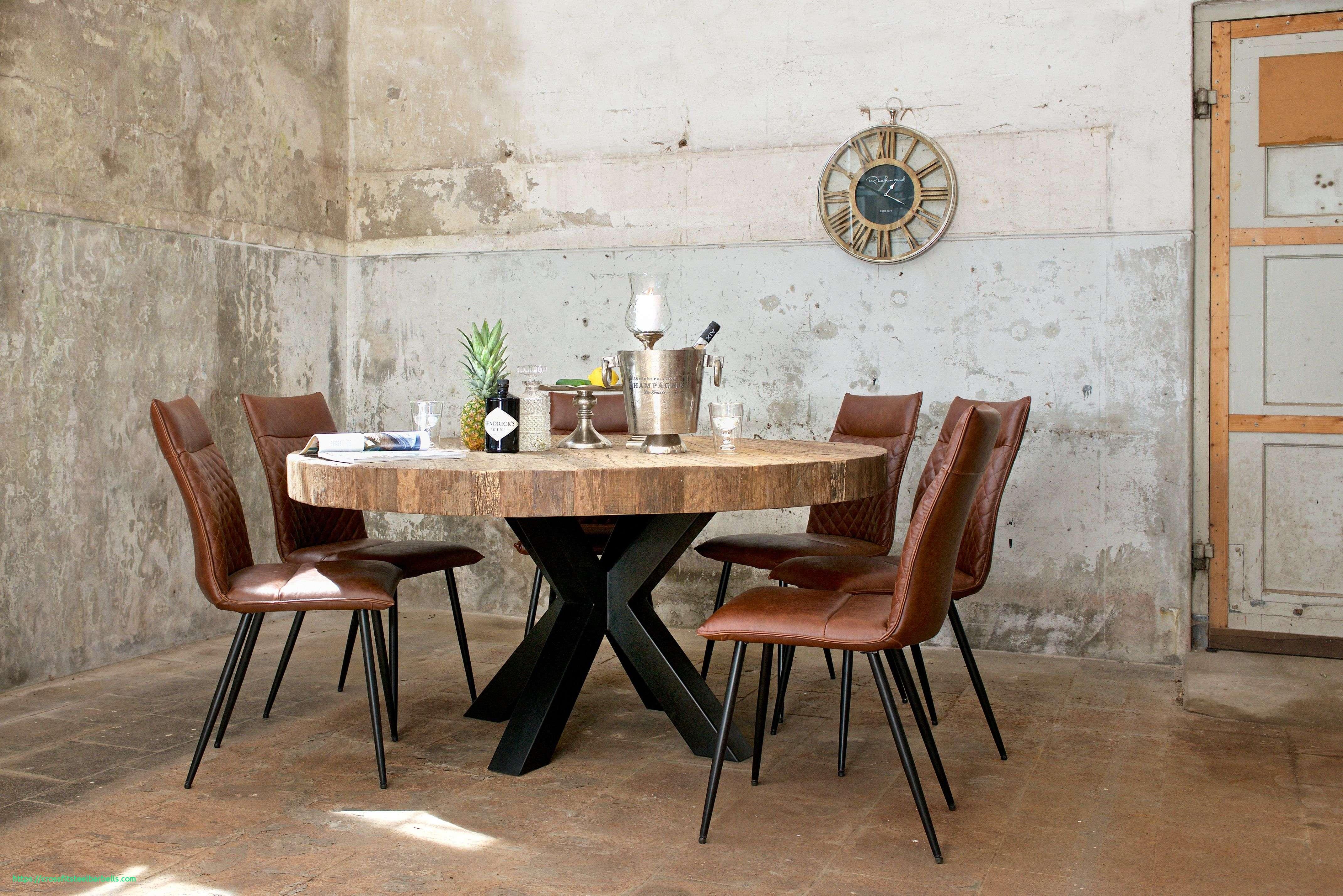 Table Design Ronde Plateau Epais Bois Pied Metal Noir