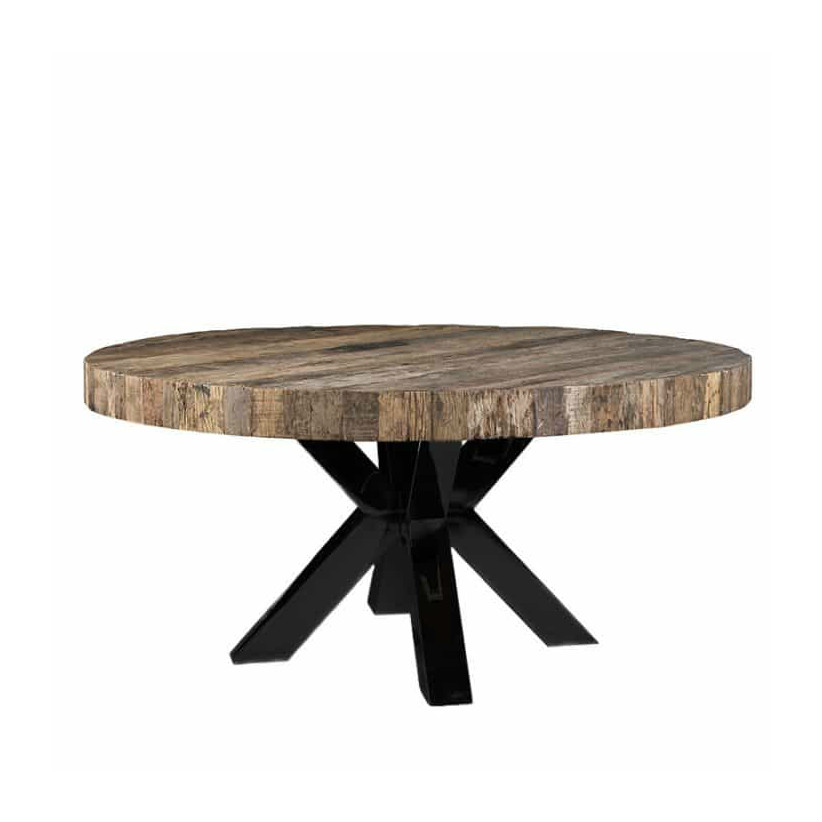 table design ronde plateau epais bois pied metal noir. Black Bedroom Furniture Sets. Home Design Ideas