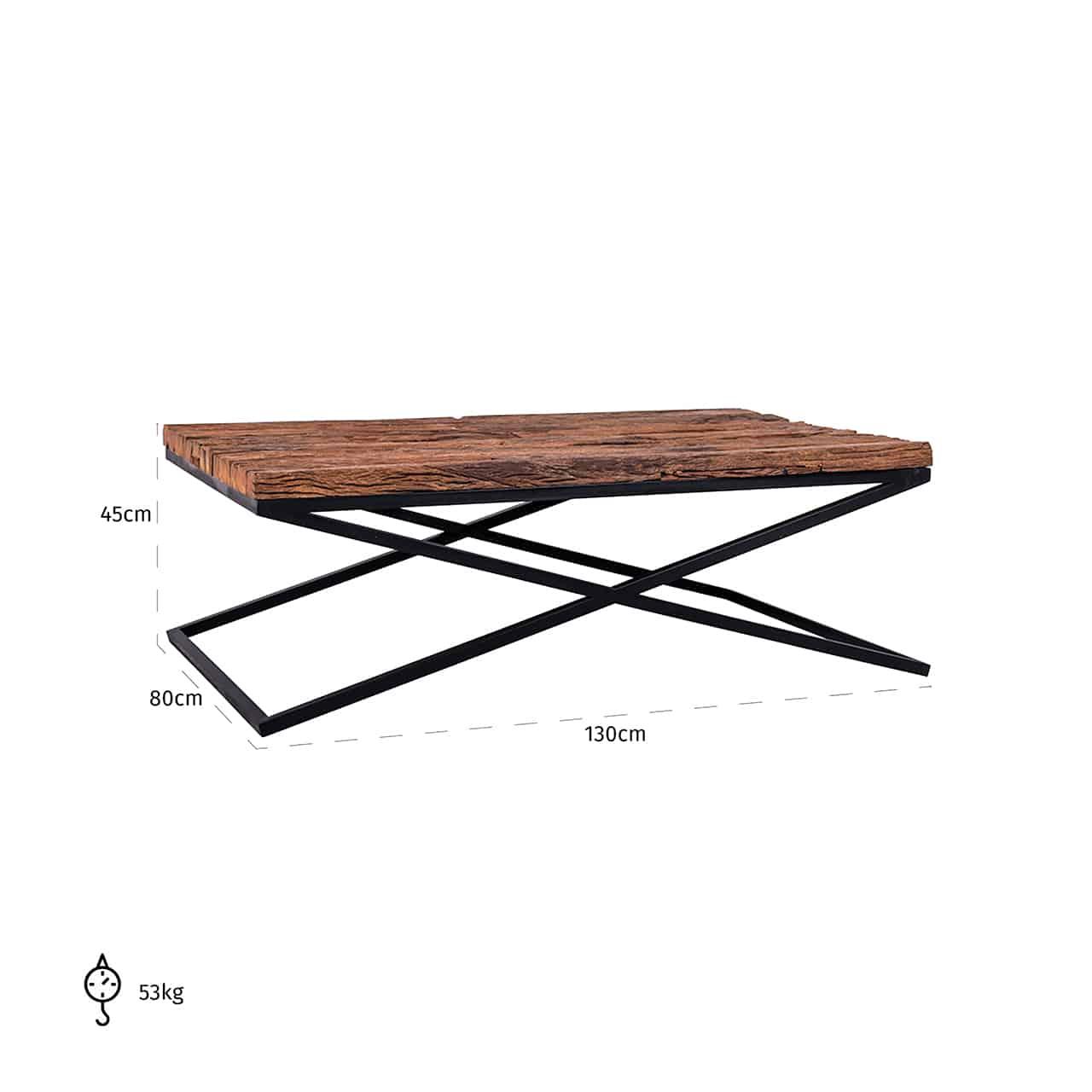 Table basse industrielle pieds metal noir plateau bois brut - Table basse salon noir ...