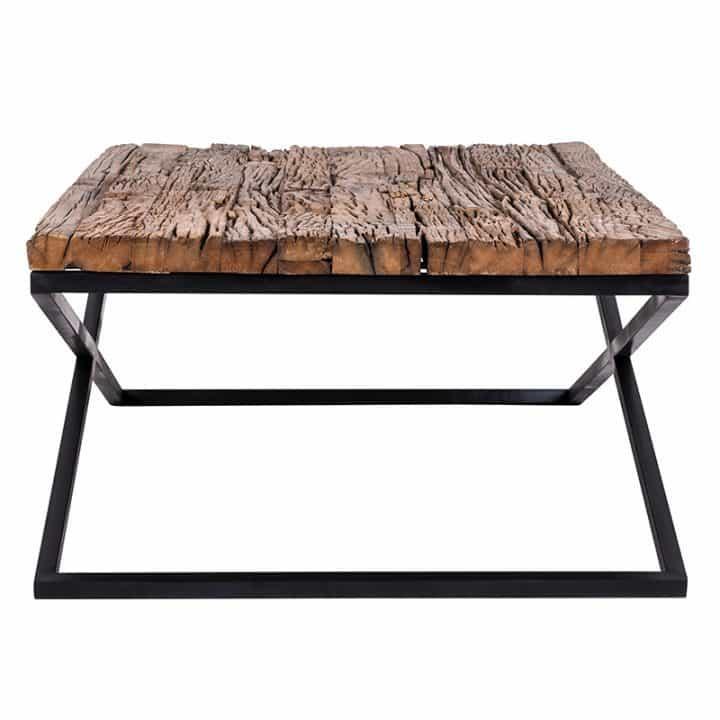 Table basse industrielle pieds metal noir plateau bois brut - Table plateau bois pied metal ...