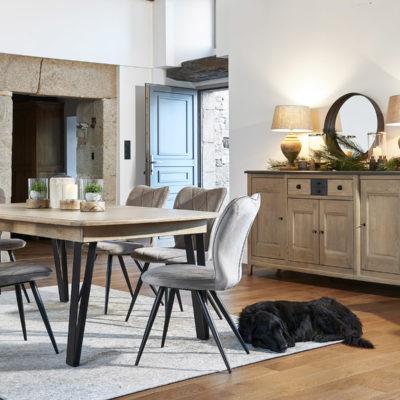 Salle à manger chêne massif table pieds métal Ateliers de Langres – SERAPHINE