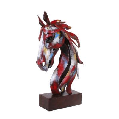 Statue métal couleurs 75cm design Socadis – TÊTE DE CHEVAL PIGMENT