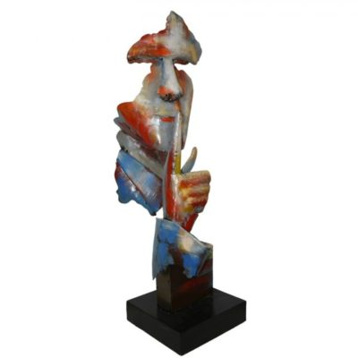 statue-visage-metal-pigment-decoration