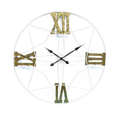 grande horloge originale chiffres romains blanc or