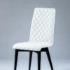 chaise design tissu blanc pieds bois noir