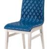 chaise matelasse tissu bleu pieds blancs