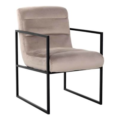 chaise velours beige pieds metal noir