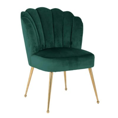 chaise velours vert pieds or