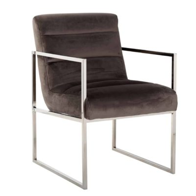 chaise velours marron pieds accoudoirs argent silver brillant