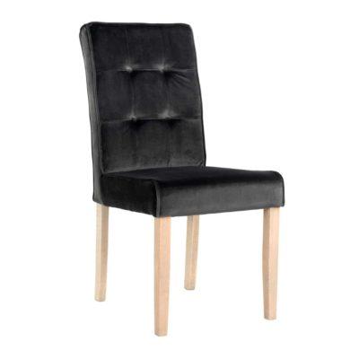 chaise moderne en tissu noir velours pieds droits bois par richmond interiors