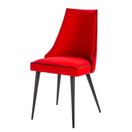 Chaise SCALA en tissu rouge passepoil noir