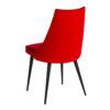 chaise design tissu rouge passepoil noir