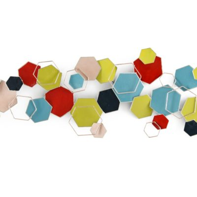 Sculpture murale abstraite formes hexagones multicolores