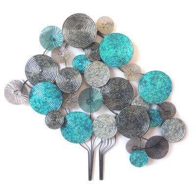 Sculpture murale metal arbre de vie disques gris et bleu turquoise