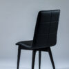 chaise coque confort tissu noir pieds bois noir