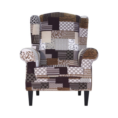 fauteuil bergère tissu marron beige